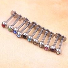 Wholesale 100pcs Stainless Steel Rhinestone Lip Labret Ring Stud Bar Body Piercing Jewelry 16g 6/8/10/12mm Tragus earring