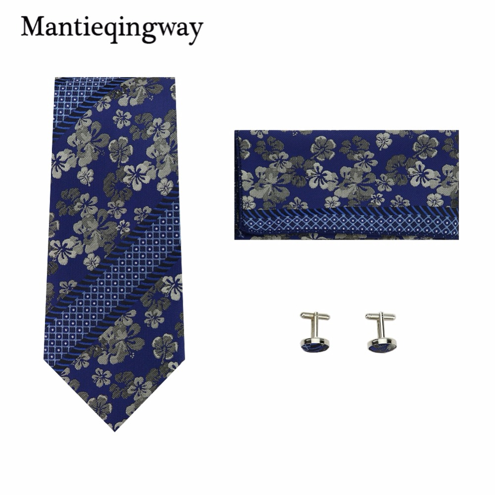 Mantieqingway Polyester Ties Handkerchiefs Cufflinks Set for Men's Paisley Floral Necktie Hanky Pocket Square Cuff Link Set
