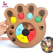 1 Interactive Toys For Dogs And Cats Food Treated Wooden Dog Toy Eco-friendly Puppy Pet Educational Bone Paw Puzzle