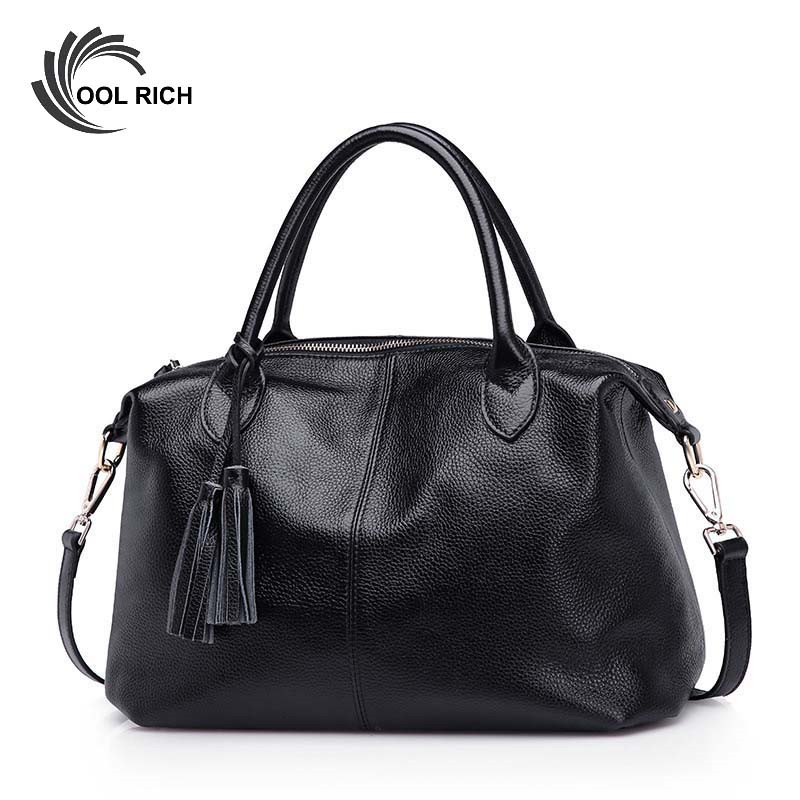New Genuine Leather Bags for Women Famous Brand Boston Messenger Bags Handbags Tassel Tote Hand Bag Woman Shoulder Big Bag Bolso 2017 new women leather handbags fashion shell bags letter hand bag ladies tote messenger shoulder bags bolsa h30