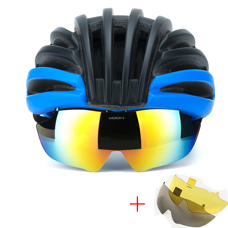 Cheap Cycling Helmet Bicycle Helmet Goggles Mountain Road Bike Helmets Sunglasses Cycling Glasses 3 Lens Bike Casco Ciclismo image
