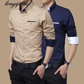 Spring and autumn new men 's long - sleeved Slim business casual large size cotton shirt TB122