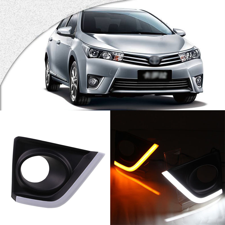 Ownsun Brand New Updated LED Daytime Running Lights DRL With Black Fog Light Cover For Toyota Corolla 2014-2016 bqlzr dc12 24v black push button switch with connector wire s ot on off fog led light for toyota old style