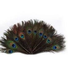 """100 יחידות 25 30 ס""""מ קישוטי נוצות עיני נוצות זנב טווס טבעי יפה למלאכה/אמנות/שמלה/כובעים/כלה תלבושות"""