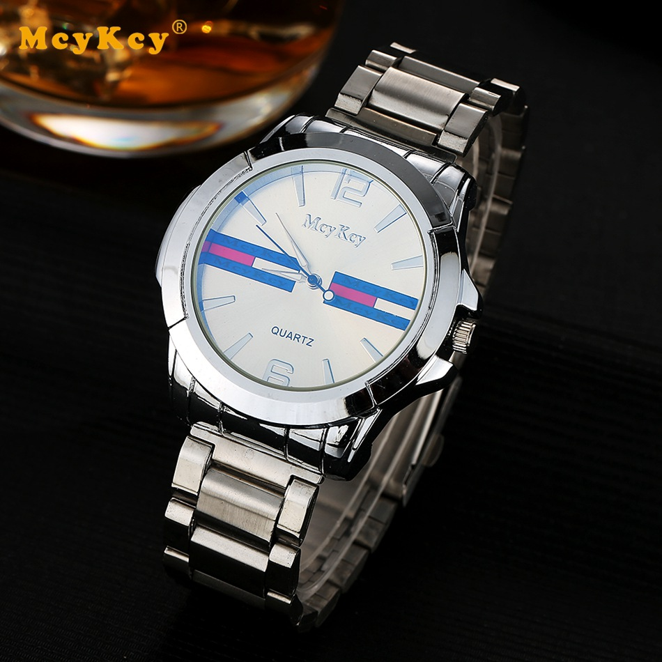 Mcykcy Famous Brand Men Luxury Business Clock Stainless Steel Watch Electronic Quartz Wristwatch Fashion Casual Dress Watch mcykcy brand men luxury stainless steel watch silver business quartz wristwatch fashion casual relogio dress watches clock my039
