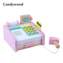 Children Educational Toys Wooden Simulation Cash Register ca