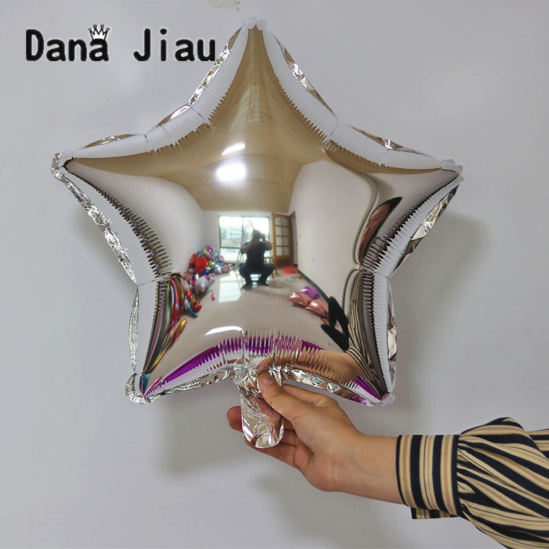 18inch Silver Color Pentagram Shaped Foil Balloon Wedding Birthday Party Decoration Air Ballons Event Star Baloon