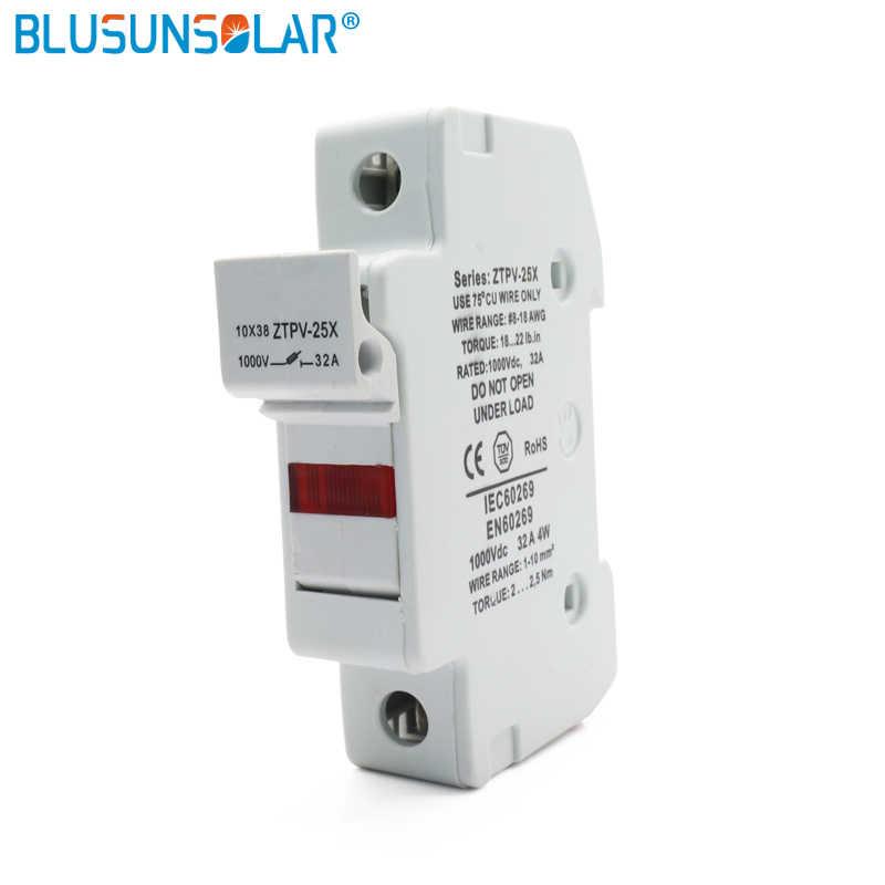 Dengan Lampu LED PV DC Fuse Holder 1 P 1000 V 1A-30A Cocok untuk 10X38 Fuse Silinder Cap fuse Base Asuransi Block Fuse