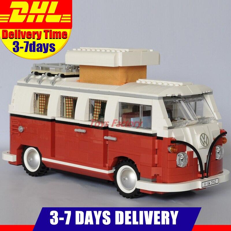 где купить 2018 New LEPIN 21001 1354Pcs Technic Series Volkswagen T1 Camper Van Model Building Kits Set Bricks Toys Compatible 10220 по лучшей цене