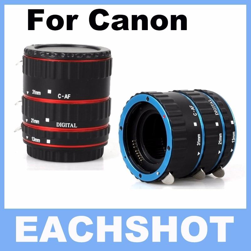 Azul y rojo de metal auto focus AF macro extensión tubo/anillo para Canon EF-S lente