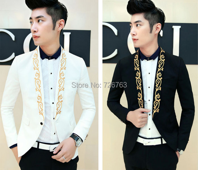 New Mens Simple Gold Floral Embroidered Lapel Quality Slim Fit ...