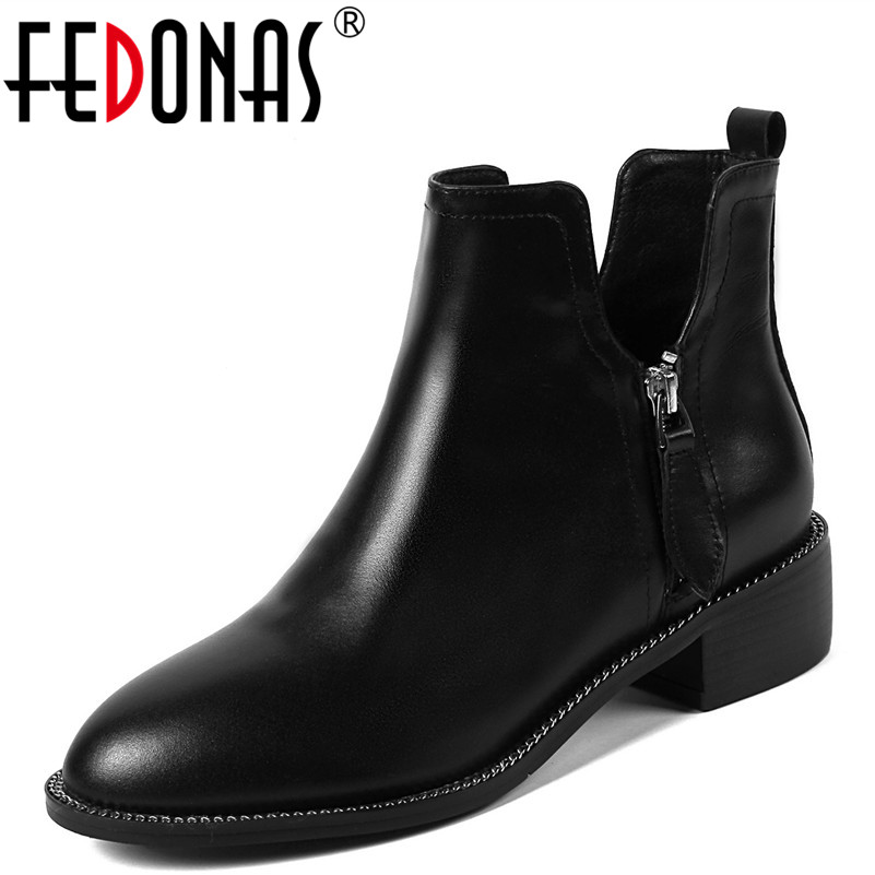 FEDONAS 1Fashion Women Ankle Boots Autumn Winter Warm Round Toe High Heels Shoes Woman Genuine Leather Elegant Brand Basic Boots elegant women low high heels ankle boots pointed toe patchwork autumn winter shoes woman basic motorcycle boots dr b0038