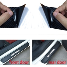 цена на Carbon Fiber Vinyl Sticker Car Door Sill Protector Scuff Plate For FIAT Panda FIAT Panda City cross Panda Cross Panda 4X4