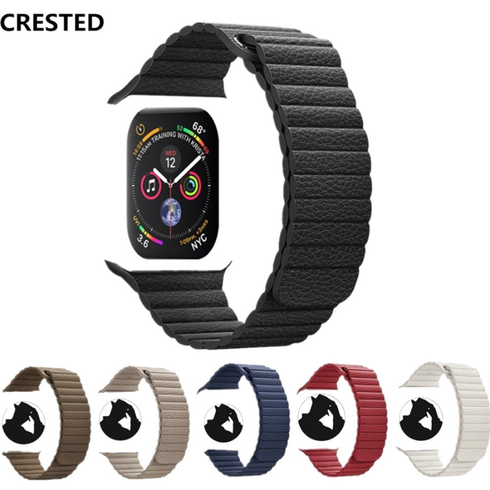 CRESTED Leather Loop For Apple Watch band 42mm/38mm strap correa iwatch series 4 3 2 1 44mm/40mm wrist watchband bracelet belt цена