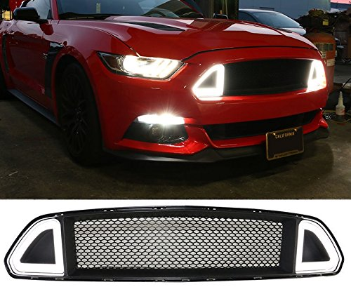 1 Piece DF001 15 17 F ord Mustang DRL LED Front Grille Hood Bumper Mesh Grill