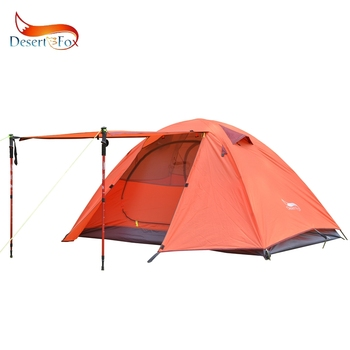 Desert&Fox Backpacking Camping Tent 2-3 Person Aluminum Poles Lightweight 2.4kg Travel Double Layer Waterproof Tents 2