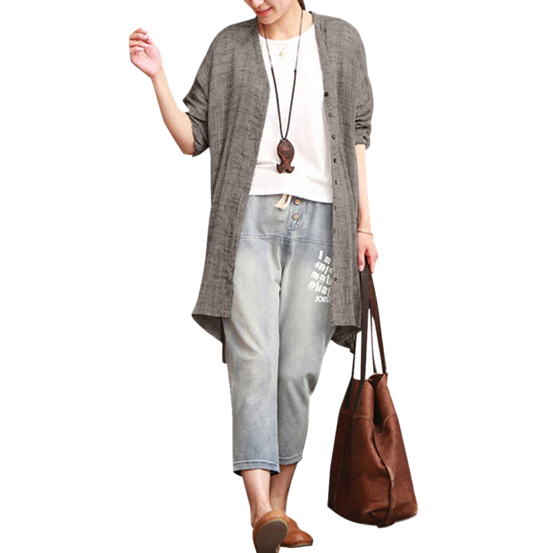 New Hot Women Fashion Loose Solid Color V Neck Long Sleeve Blouse Cardigan Ladies Casual Button Shirts Side Slit Tops