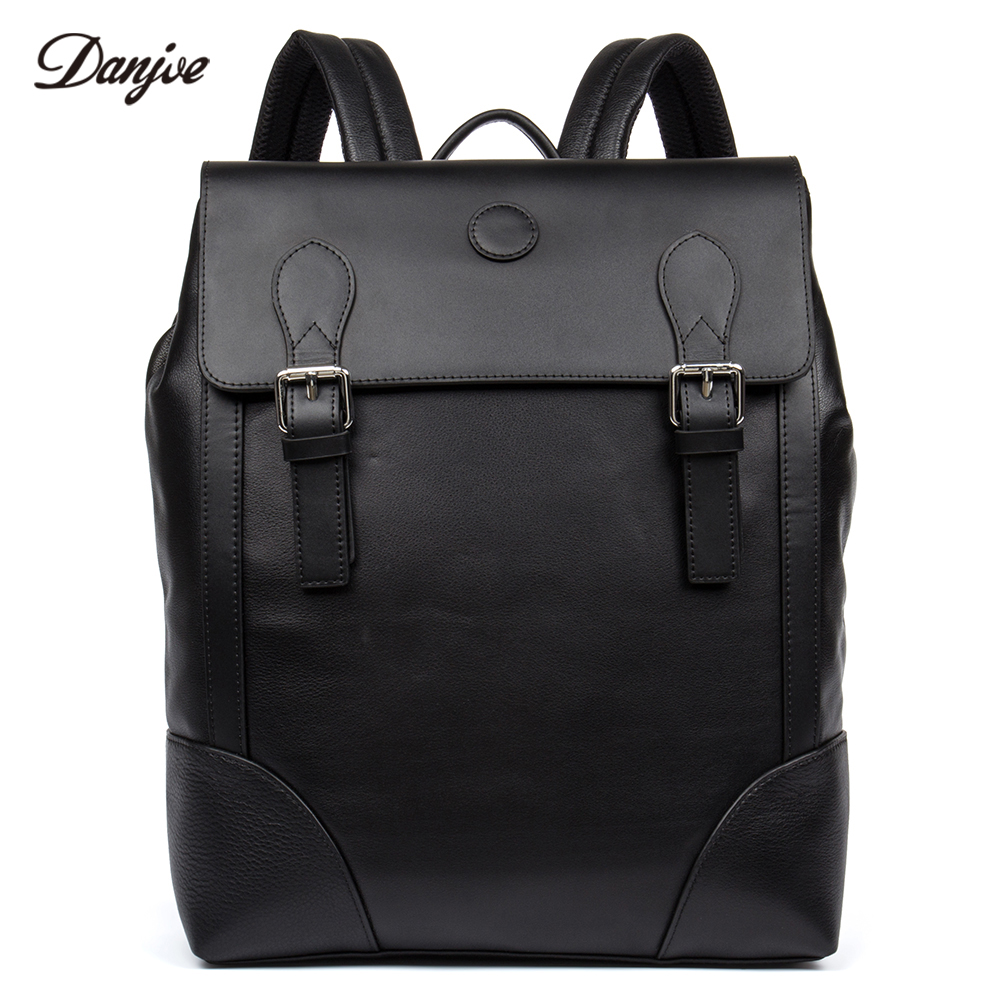 DANJUE Men Backpack Genuine Leather School Bag Students Trendy Cover Travel Bags Male Leisure 14inch Laptop Backpack Man marrant genuine leather backpacks men shoulder bag men bag leather laptop bag 15 inch men s luggage travel bags school backpack