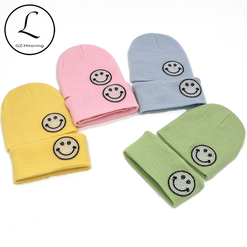 2017 New Kids Beanie Hat Scarf Set 2pcs Cute Candy Solid Color Baby Girls Boys Smile Beanies Cap Knit Hat Scarf Warm Winter Set