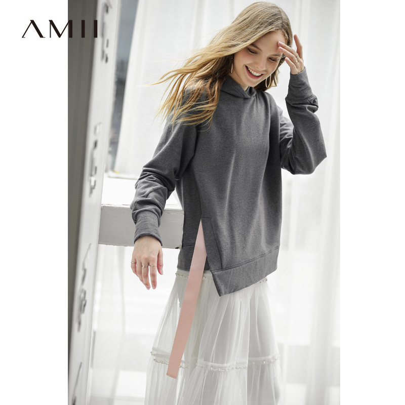 Amii Causal Female Hooded Sweatshirts Women Spring 2019 Streetwear Solid Long Sleeve Ribbon Cotton Soft Female Tops