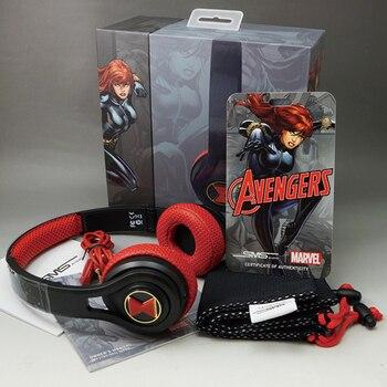SMS Marvel The Avengers Black Widow gaming black-red headset 3.5mm Super Hero Series stereo microlite soprt wired headphone gift