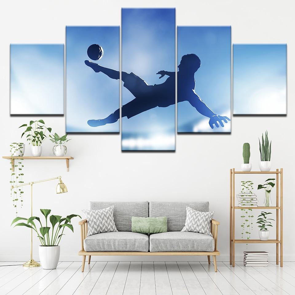 5 plošča Modularna umetnost Slikanje Skoki Nogometaši Moški Slika - Dekor za dom