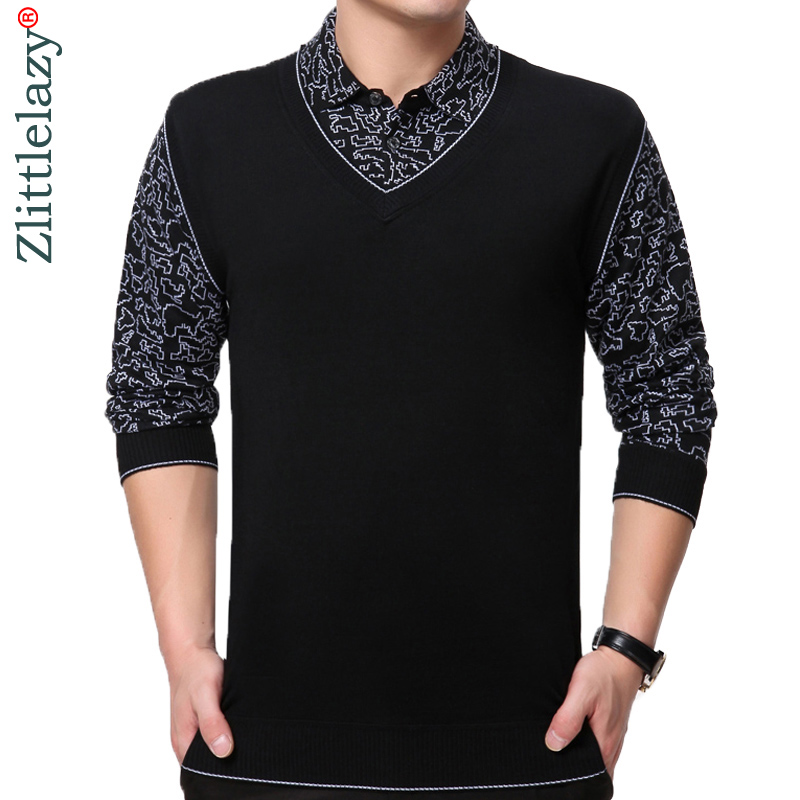 2019 brand new casual long sleeve business mens shirts fake two pieces male patchwork   polo   shirt men tenis   polos   camisa social