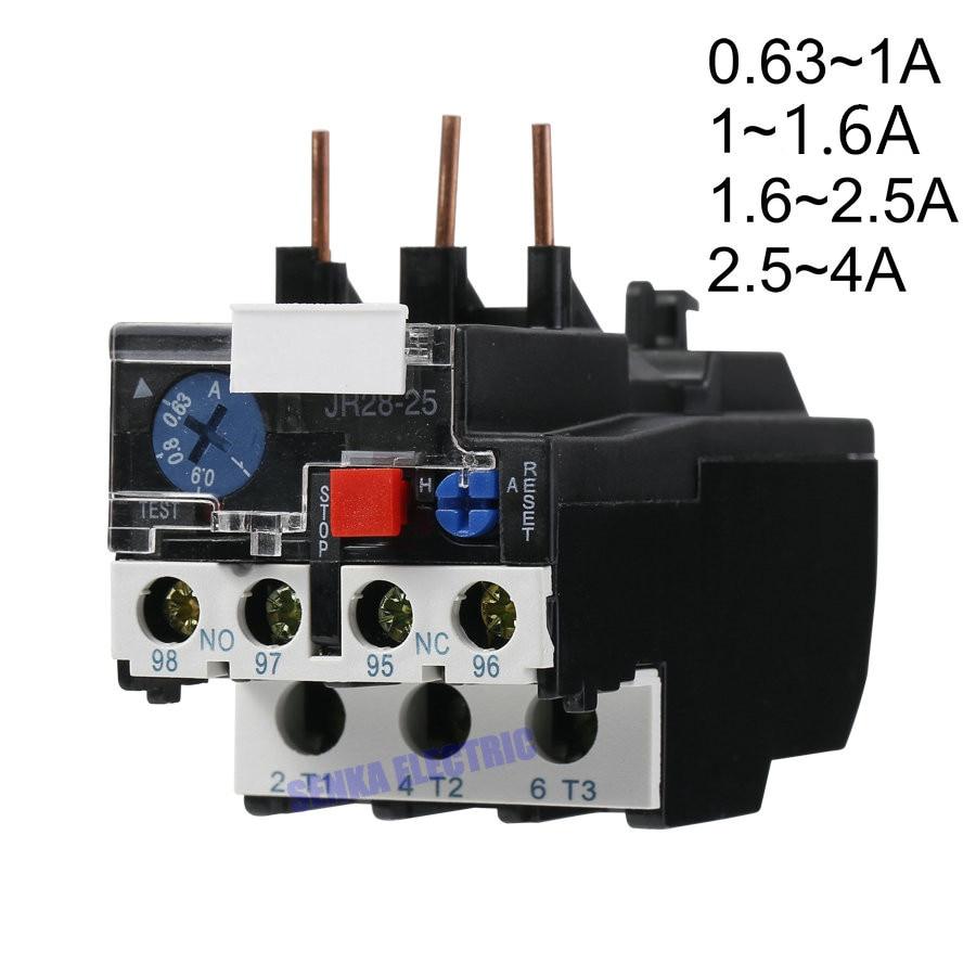 3P JR28-25 LR2 D13 elektryczny termiczny przekaźnik przeciążeniowy 1A 1.6A 2.5A 4A 1NO 1NC