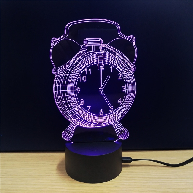 3D Night Light LED Lamp Acrylic Alarm Clock Showpiece