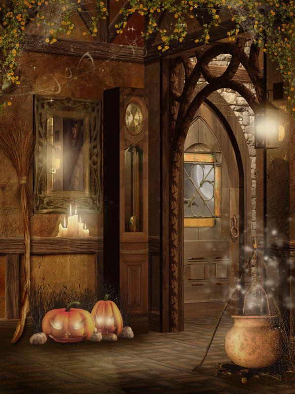 10x10ft Indoor Suite Room Porch Floor Clock Pumpkin