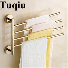 New and brief 2-4 Swivel Towel Bars Copper Wall Mounted Bathroom Towel Rail Rack Gold Bathroom Towel Holder Towel Hanger gfmark towel hanger modern style wall mounted chrome surface towel bars bathroom towel rack shelves holder badkamer accesoires