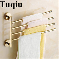 New and brief 2 4 Swivel Towel Bars Copper Wall Mounted Bathroom Towel Rail Rack Gold Bathroom Towel Holder Towel Hanger