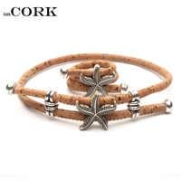 Natural Cork Handmade starfish sea star women original ring and bracelet Eco materials wooden jewelry Set-065