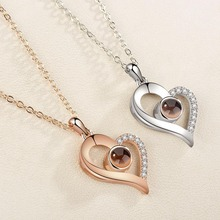 S925 Silver 100 Languages I Love You Projection Charm Pendant Necklaces Heart-shaped Crystal Wedding Ladies Necklace Gifts