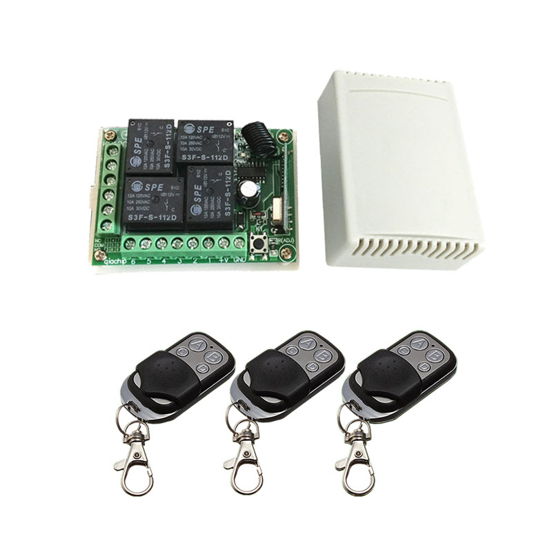 433.92 Universal Wireless Remote Control Switch DC12V 4CH relay Receiver Module and 3pcs 4 channel RF Remote 433 Mhz Transmitter