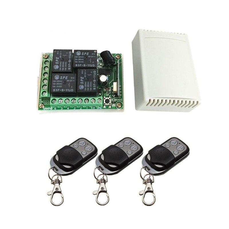 433.92 Universel Sans Fil Commutateur de Commande À Distance DC12V 4CH relais Module Récepteur et 3 pcs 4 canal RF À Distance 433 Mhz émetteur