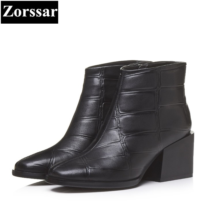 {Zorssar} 2017 NEW arrival winter Women Boots Genuine Leather thick heel ankle Boots fashion Square Toe High heels womens shoes sfzb new square toe lace up genuine leather solid nude women ankle boots thick heel brand women shoes causal motorcycles boot