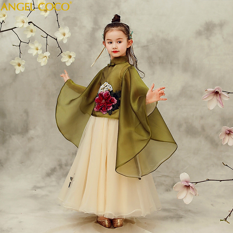 Flower Girls Party Dress Embroidered Formal Bridesmaid Wedding Girl Christmas Princess Ball Gown Kids Vetement Enfant Fille 2017 new flower girls party dress embroidered gownceremonial robe dress formal bridesmaid wedding girl christmas princess robe