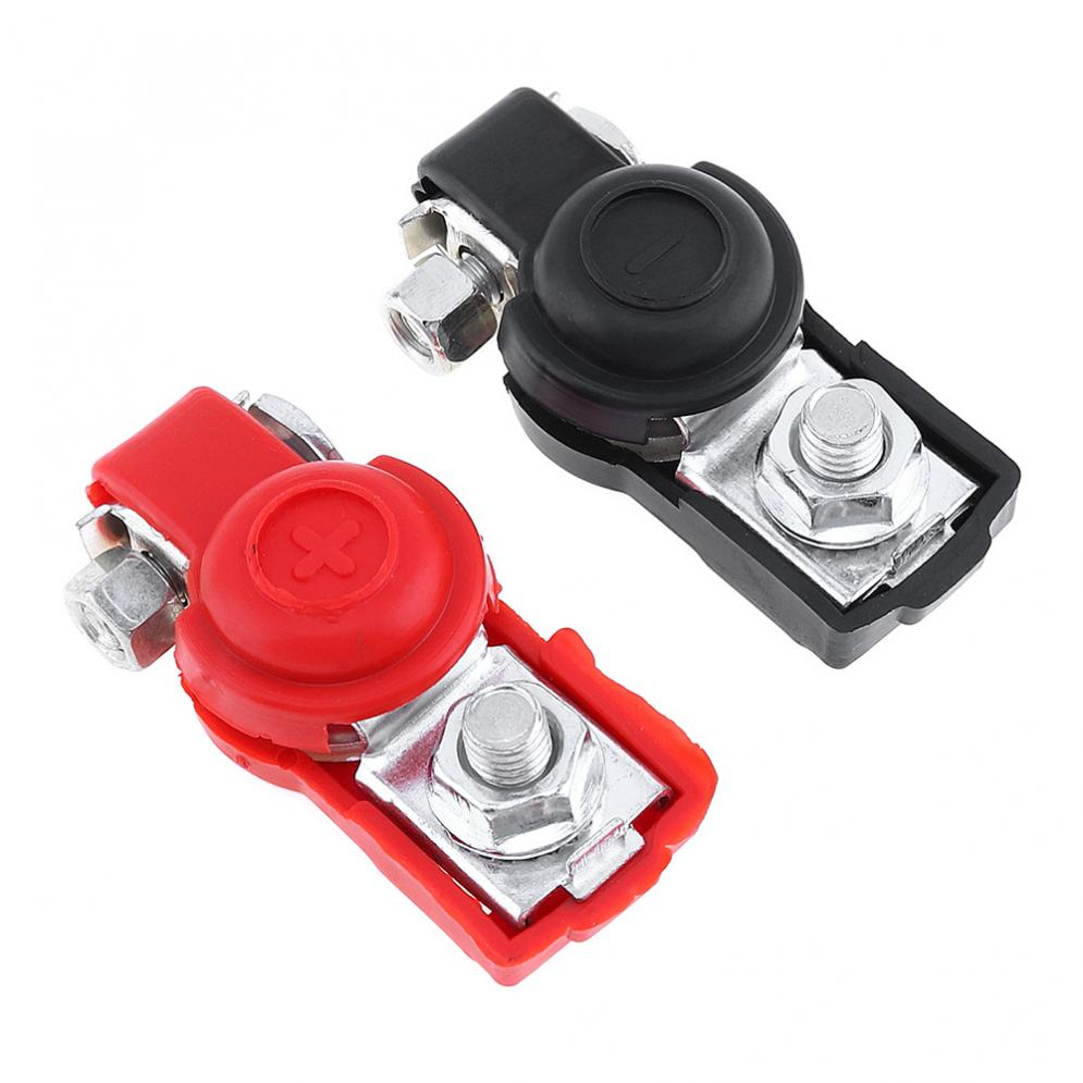 1 Pair Alloy Adjustable Positive Nagative Car Battery Terminal Clamp Clips Connector with Plastic Covers for Vehicles 1 pair practical silver car battery terminal set 2 4 8 gauge awg positive