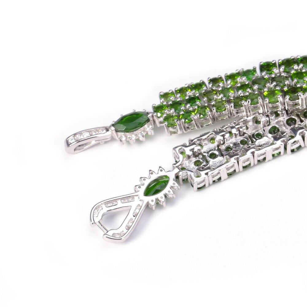 GEM'S balet 29.25Ct naturalne Chrome Diopside czysta 925 Sterling Silver kamień zielony Chain Link bransoletki dla kobiet w porządku biżuteria w Bransoletki i obręcze od Biżuteria i akcesoria na  Grupa 3
