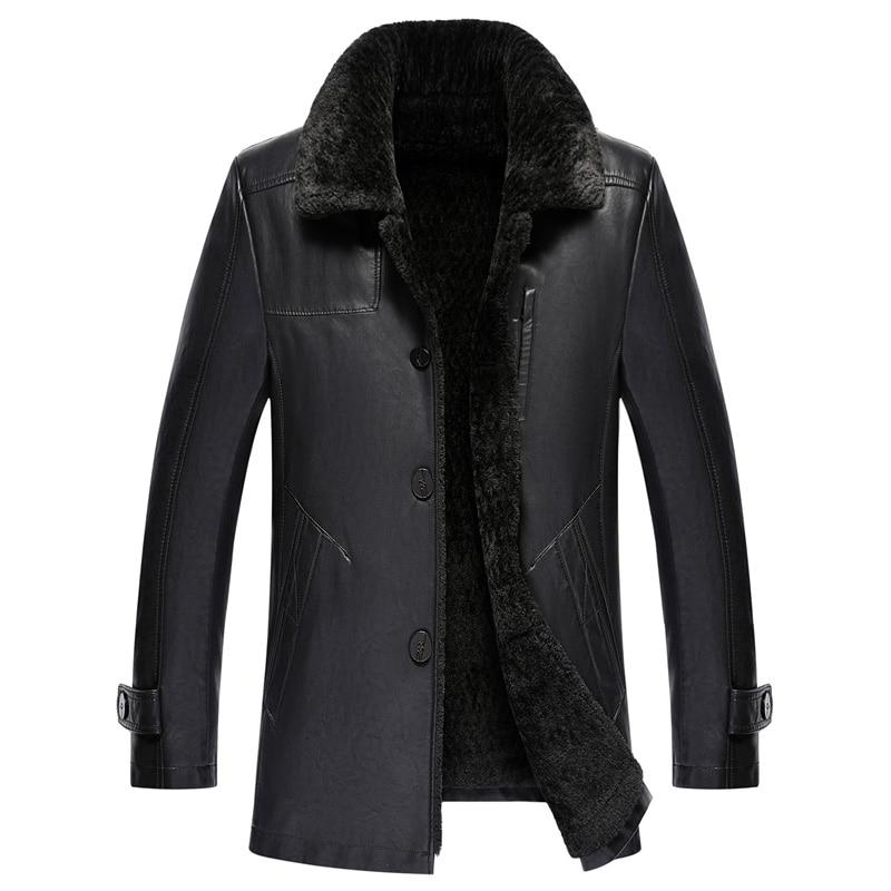 2018 Nouveaux Hommes D'hiver En Cuir Manteau Mode Hiver Veste En Cuir Hommes Fourrure Col Velours À L'intérieur Neige Manteaux Chauds Hommes jaqueta de couroie