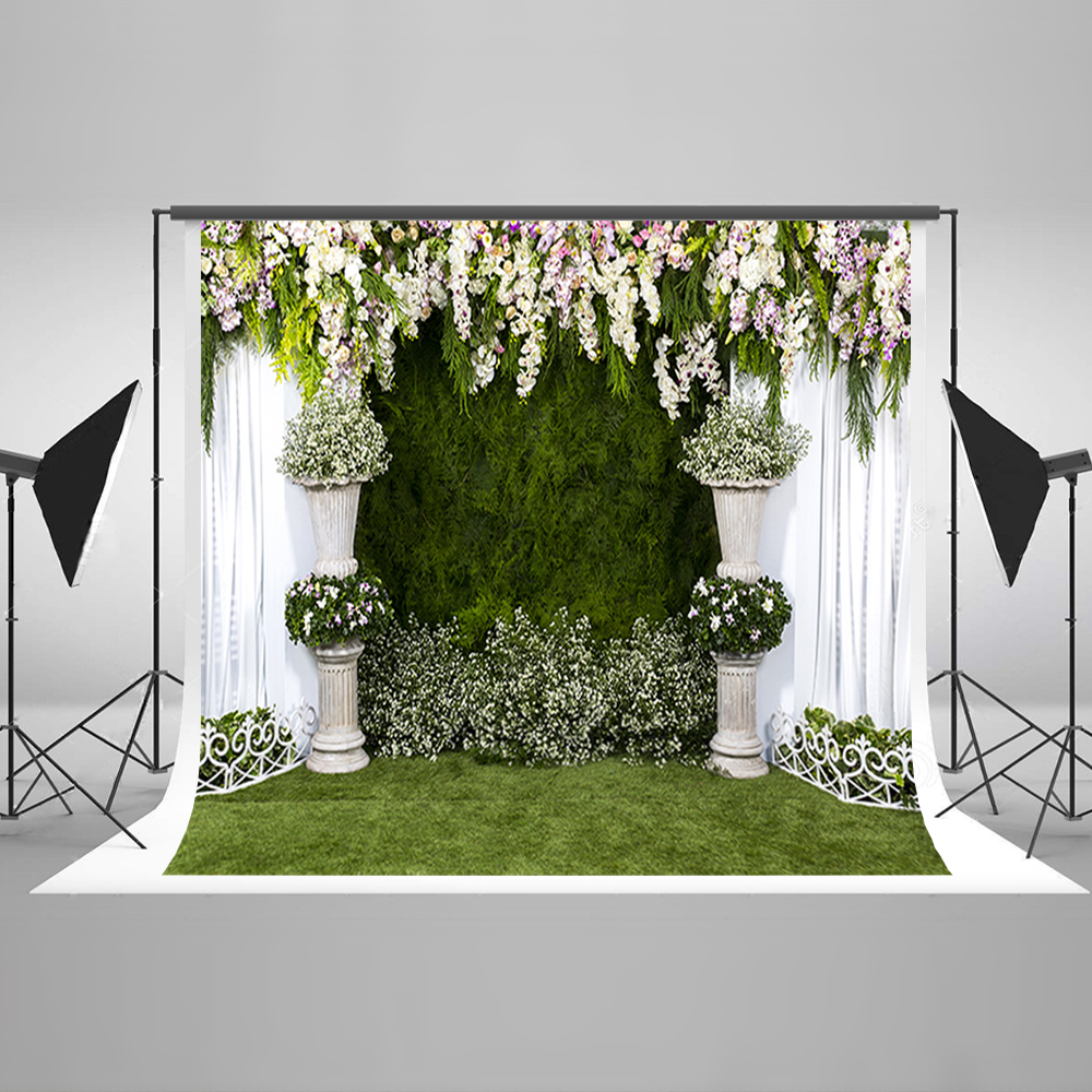 Wedding Photography Background White Purple Flowers Photo Booth Backdrops Green Grassland Background for Photographic Studio 200 300cm backgrounds for photo studio photography backdrops white green the open air terrace flowers tree for wedding