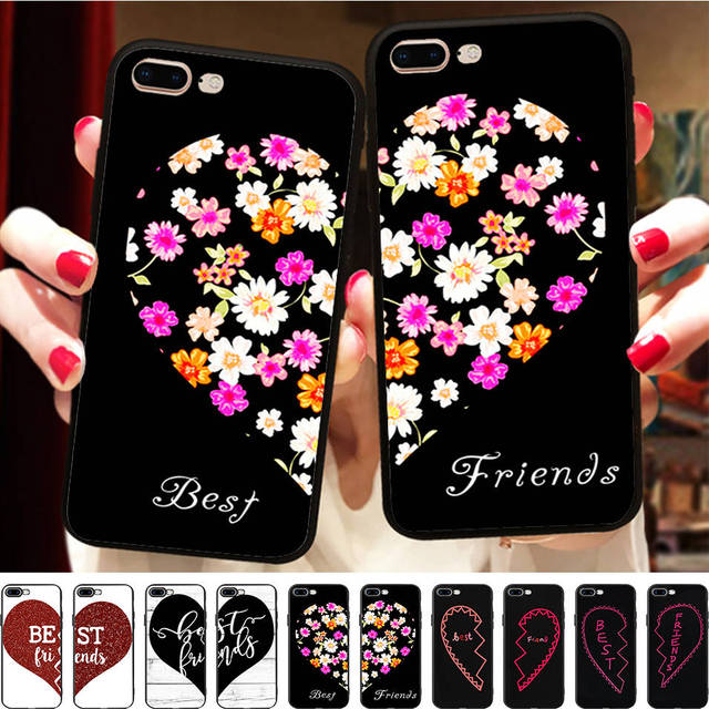 5279dff8b8 Flower BFF Case for iPhone X Case Matching Girls Best Friends Couple Cover  for iPhone 7 5 5S XR XS Max 6 6s 8 plus Case Coque