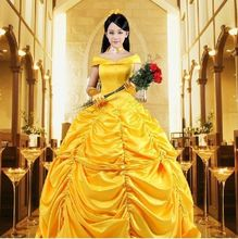Princesa belle beauty and the beast Fancy Dress Cosplay adultos trajes de halloween para as mulheres sino plus size carnaval(China)