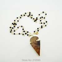 N14121307 Black Beads Rondelle Rosary Chain Necklace Brown Gray Arrowhead Pendant Necklace