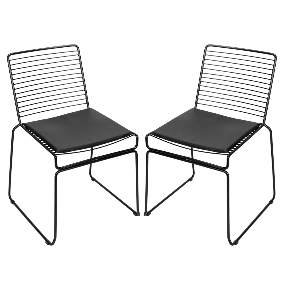 2pcs Nordic Fashion Wire Dining Chair Simple Hollow Wire Chair Leisure Creative Metal Coffee Lounge Chair