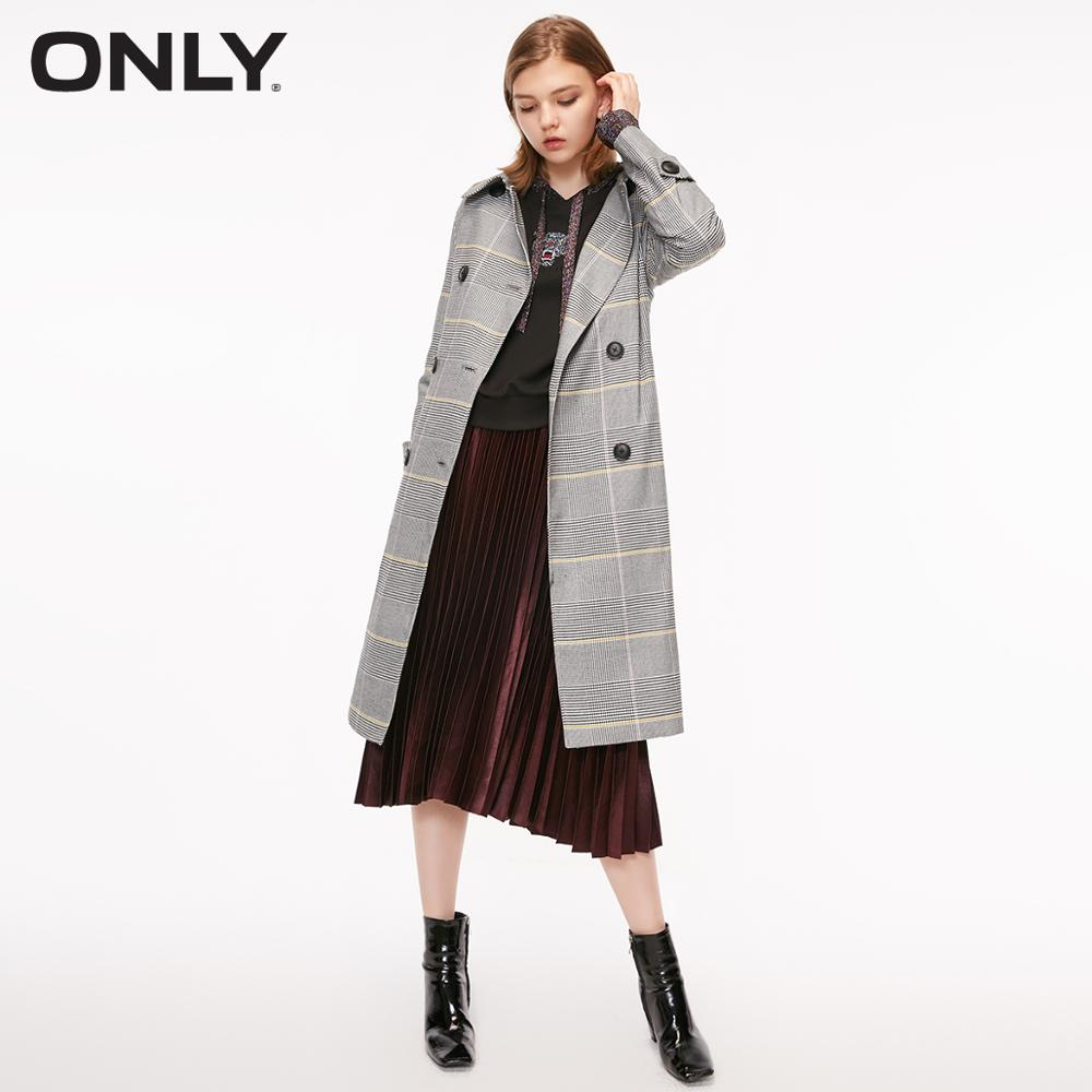 ONLY Women's Double-breasted Checked Cinched Waist Medium Length Wind Coat | 118336539