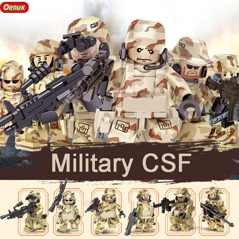 Oenux New Military Camouflage CSF Soldiers With Weapon Model Building Blocks Military Equipment DIY Brick Toys For Boys Gift kazi 228pcs military ship model building blocks kids toys imitation gun weapon equipment technic designer toys for kid