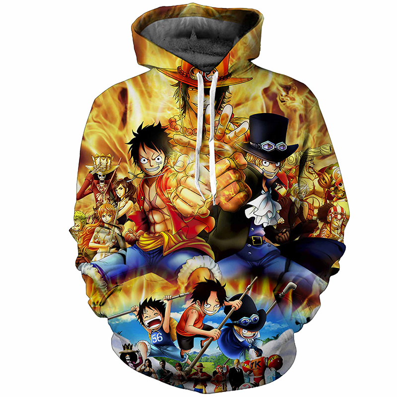 One Piece Luffy Harajuku Print Pullovers Hoodie Large Size ...