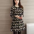 2017 nova moda feminina elegante do vintage print floral chiffon dress o pescoço manga comprida casual mini vestidos plus size